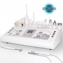 Ultrasonido1mhz y 3mhz+Alta Frecuencia+BIO Galvánica+Vacumm de rostro+Electrocauterio+Cepillo exfoliante+Pulverizador de Rocío