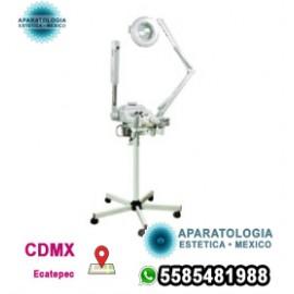 Vaporizador facial 4 en 1, lámpara de aumento, máquina facial de cepillo giratorio y de alta frecuencia